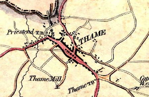 Extract from an 1823 map of Thame